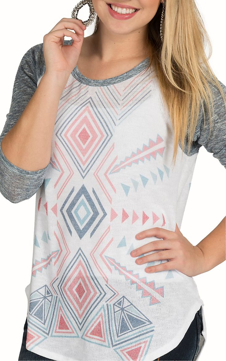 Karlie Women's White with Aztec Print 3/4 Sleeve Baseball Tee