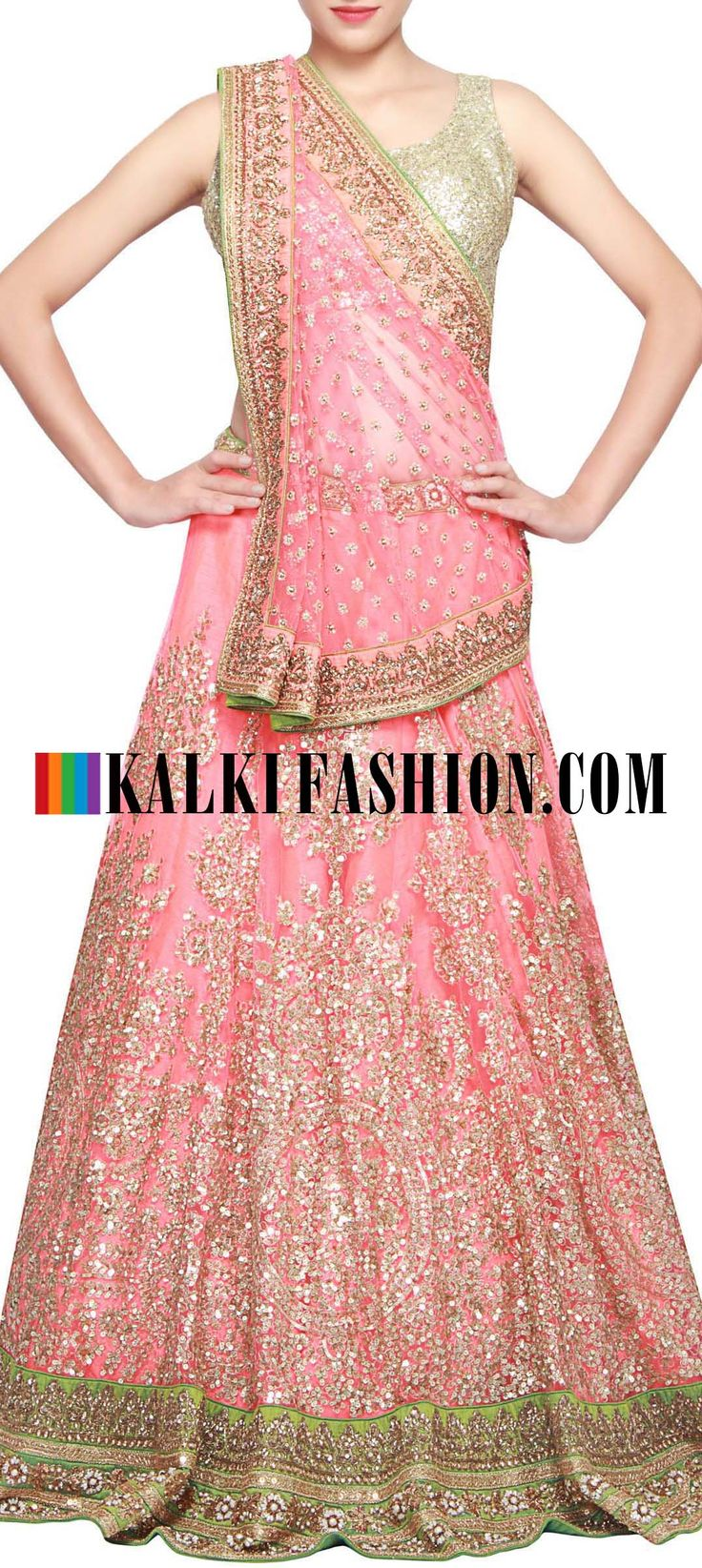 Buy Online from the link below. We ship worldwide (Free Shipping over US$100) http://www.kalkifashion.com/dark-peach-lehenga-featuring-in-sequence-embroidery-only-on-kalki.html