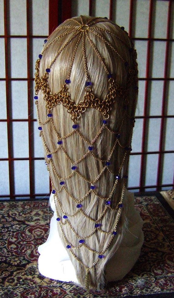Game of Thrones Brass and Blue Crystal Fishnet Chainmail Headdress Renaissance Costume Cosplay SCA
