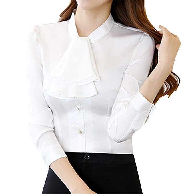 f2616744b907c4 E.JAN1ST Women s Long Sleeve Shirt Tie Bow Neck Button End Slim Fit Chiffon  Blouse 95%Polyester 5%Spandex Imported Button closure Great to pair with  both ...
