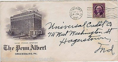 PENN ALBERT HOTEL GREENSBURG PA VINTAGE 1930s ADVERTISING ART STAMP MAIL COVER