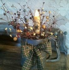 Antique flour sifter w/pip berries and timer candle primitive rustic country dec