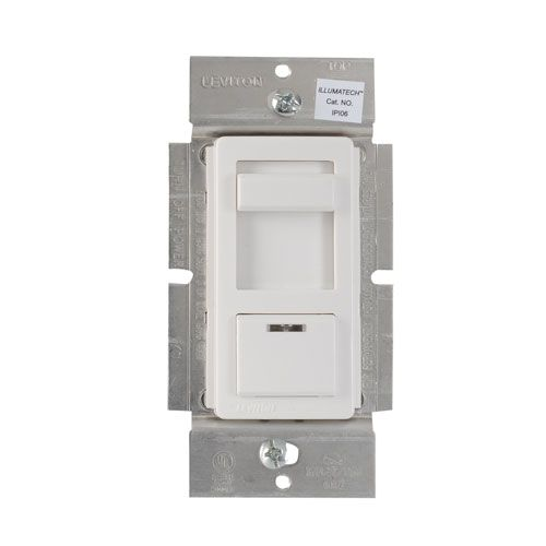 Gradateur à glissière avec interrupteur et témoin lumineux de localisation. Installation unipolaire ou à 3 voies. Pour éclairage incandescent (maximum 600 W). Blanc. (Plaque vendue séparément)
