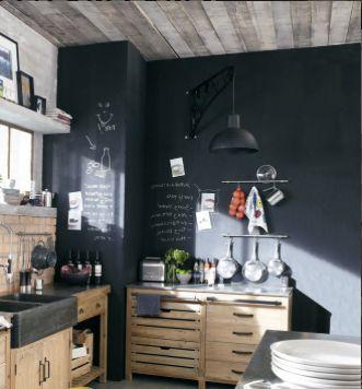 Meubles de cuisine ind pendant et ilot maison du monde murs noirs mur et cuisine en bois - Meuble cuisine independant ...