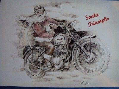 Classic british designer christmas card pack of 4 triumph theme ...