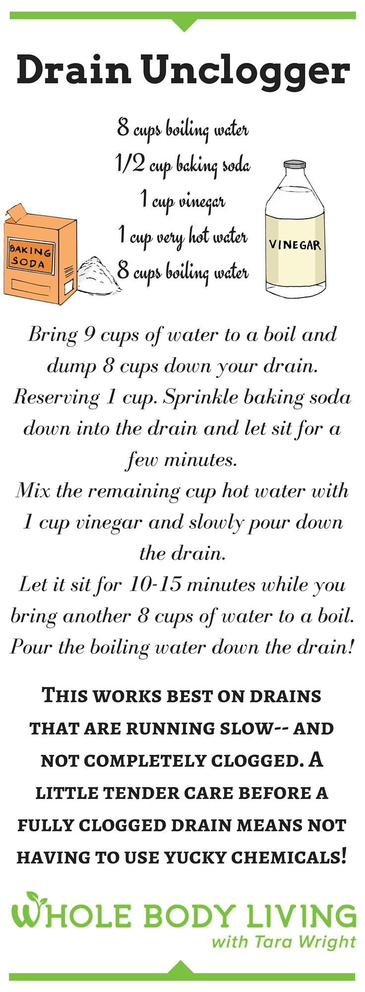 DIY Drain Unclogger - http://wholebodyliving.com/diy-drain-unclogger/ -Whole…