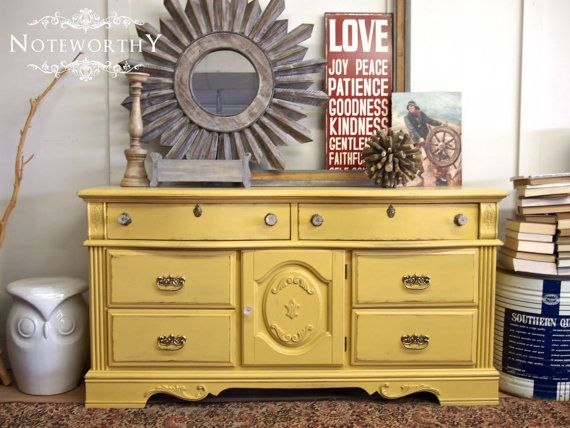 Yellow / Mustard Curved Top Dresser By Noteworthyhome Curvy, Painted  Dresser, Painted Buffet,