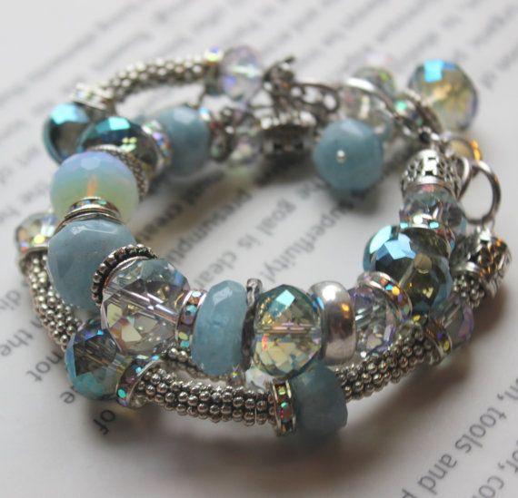 ON SALE chunky charm bracelet, aquamarine bracelet, chunky bracelet, multi strand bracelet, wedding charm bracelet