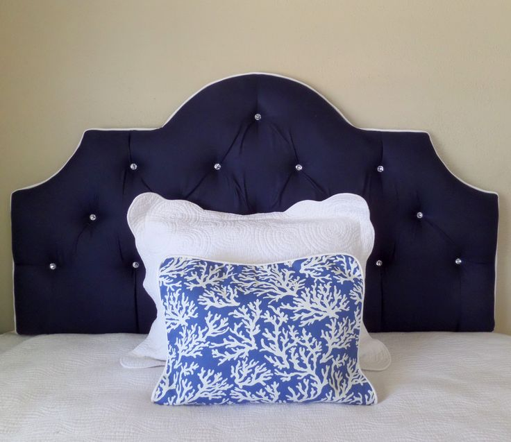 Queen Size Navy White Crystal Buttons Tufted Upholstered