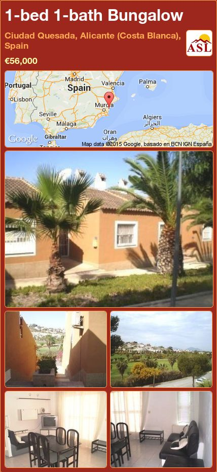 1-bed 1-bath Bungalow in Ciudad Quesada, Alicante (Costa Blanca), Spain ►€56,000 #PropertyForSaleInSpain