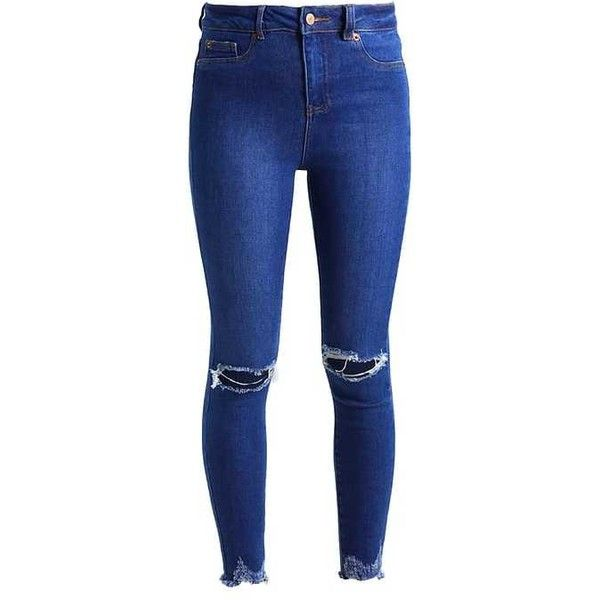 DISCO RIPPED BLUEBERRY Jeans Skinny Fit bright blue ❤ liked on Polyvore featuring jeans, pants, destroyed jeans, blue ripped jeans, distressed skinny jeans, super skinny jeans and ripped jeans