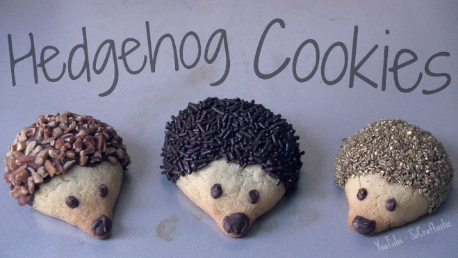 Hedgehog Cookies made by me. I used a fluffy sugar cookie recipe & melted chocolate chips to decorate. For spikes you can use nuts or sprinkles. I posted a YouTube video on how to make them - you can find it on the SoCraftastic channel.