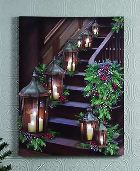 """Dimensions: 16""""W x 21""""L Stretched canvas Flickering Lights AA Batteries On / Off…"""