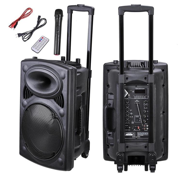 12in Portable Active PA Speaker w/ Wireless Microphone