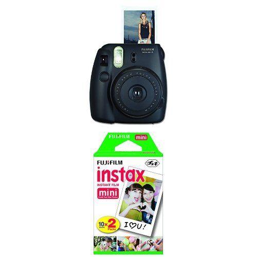 Fujifilm Instax Mini 8 Instant Film Camera (Black) with Twin Pack Instant Film (White)