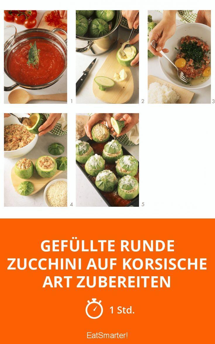 Gefüllte runde Zucchini auf korsische Art zubereiten - smarter - Zeit: 1 Std. | eatsmarter.de