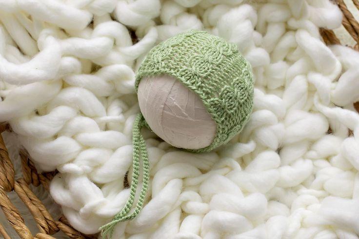 Knitting Pattern, Knit PDF Pattern,  Newborn Hat Pattern, PHOTO shoot prop,  Knit, Tutorial, PDF, Newborn hat, Eloise Bonnet by CreamoftheProp on Etsy