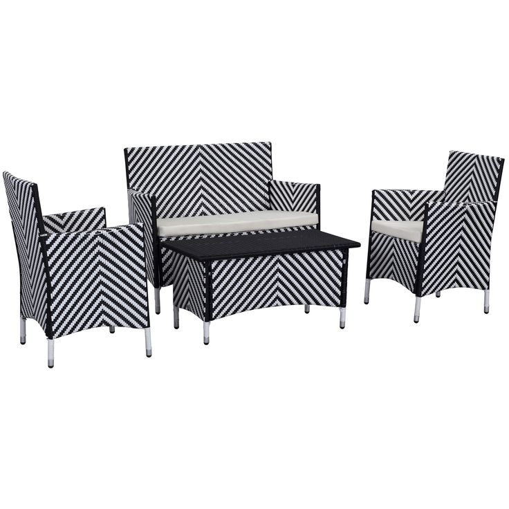 Punch up the patio with this four-piece outdoor set cleverly woven into a cheerful chevron stripe of black and white PE rattan.