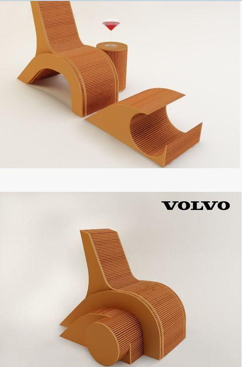 chaise en carton ... le marchepied et la table de chevet peuvent être mis sous la chaise = gain de place !