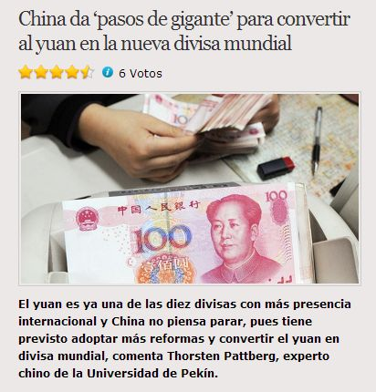 China da 'pasos de gigante' para convertir al yuan en la nueva divisamundialEl yuan es ya una de las diez divisas con más presencia internacional y China no piensa parar, pues tiene previsto adoptar más reformas y convertir el yuan en divisa mundial, comenta Thorsten Pattberg, experto chino de la U