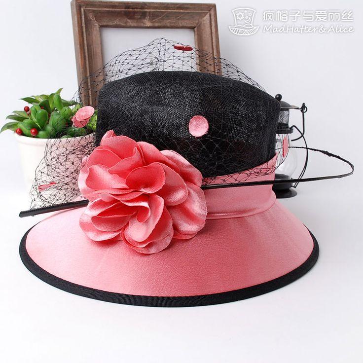 【温莎夫人-疯帽子与爱丽丝】特色头纱设计 进口麻 宴会 下檐帽子-淘宝网