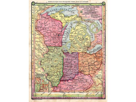 Old Map Of Wisconsin Michigan Map Illinois Map Indiana