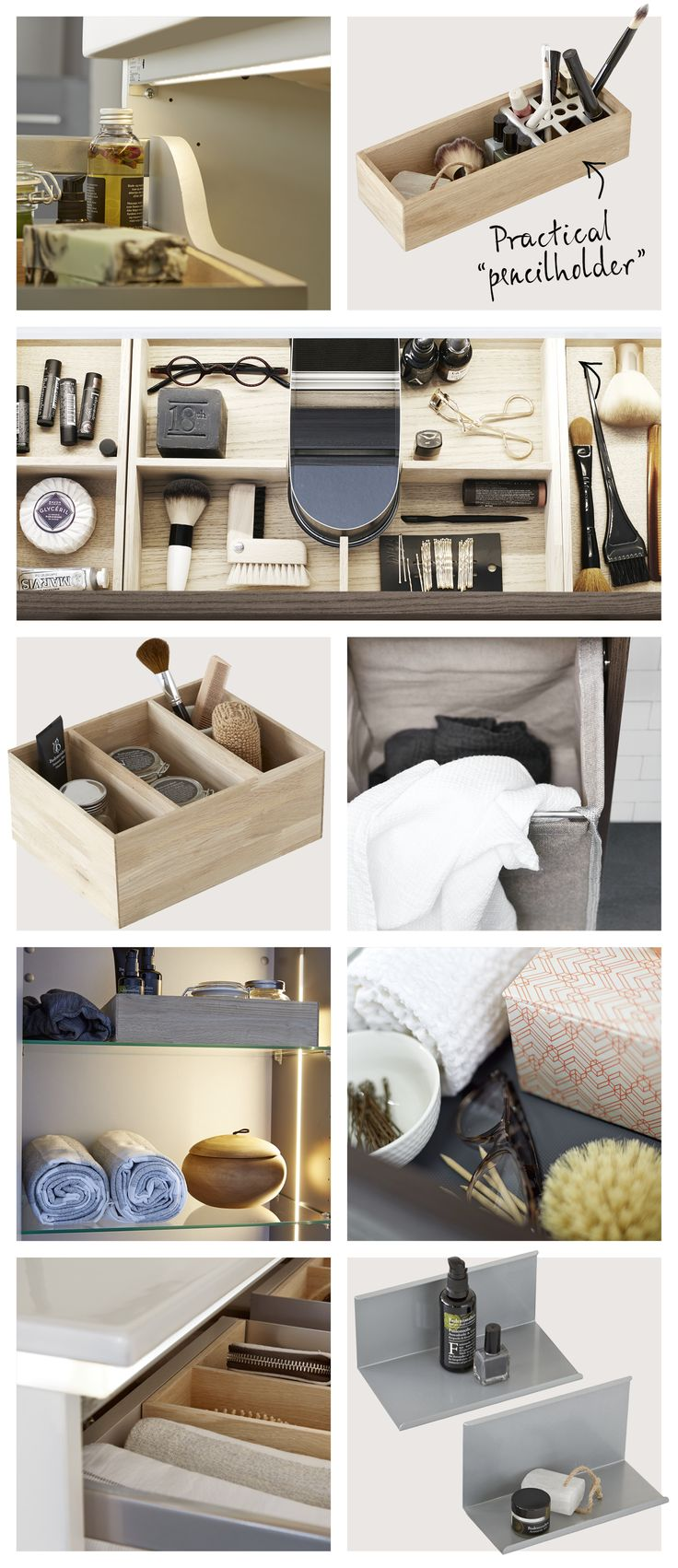 Optional accessories / Complete your furniture with stylish accessories like antislip rubber matts, solid wood oak trays and LED illumination in drawers and tall units.