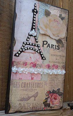 Paris Decor Sign Decorative Eiffel Tower & Roses in Vintage Paper French Decor