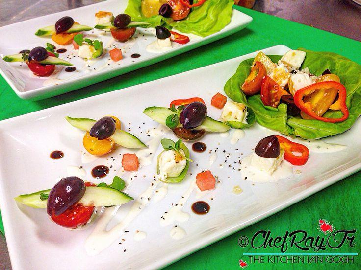 Deconstructed Greek Salad! Last Night For @kejsidrenova  | :: | Heirloom Tomatoes tossed In Aged Reggiano Oil & Reggiano Parmesan Flakes, Kalamata Olives, Cucumbers, Brûlée Feta Cheese, Brussel Sprout Leaves, Compressed Watermelon, Tzatziki Dressing, Aged Balsamic Glaze, Micro Basil, Micro Mint. --- #chefrayjr #cheflife #Chef #thekitchenvangogh #theartofplating #finedining #food #foodie #foodart #foodpic #foodgasm #foodporn #instafood #miamichef