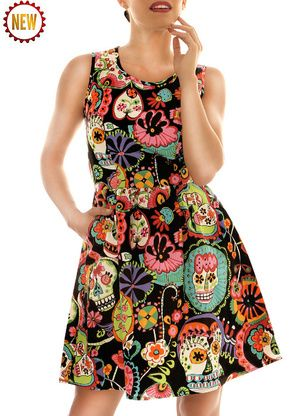 Evolution Sugar Skulls Dress  by Folter Available @ Modern Grease Clothing & Accessories Co.