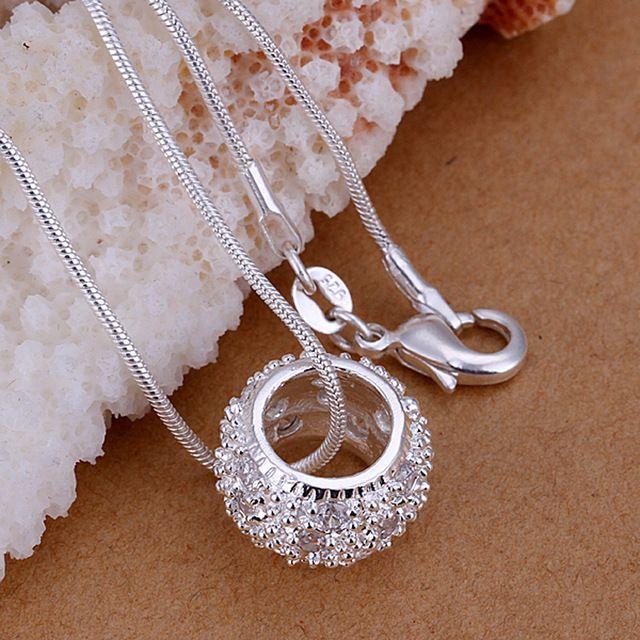 P024 серебряный круг кулон ожерелье с AAA Циркон Ювелирные изделия Обручальные подарки цена Завода оптовая