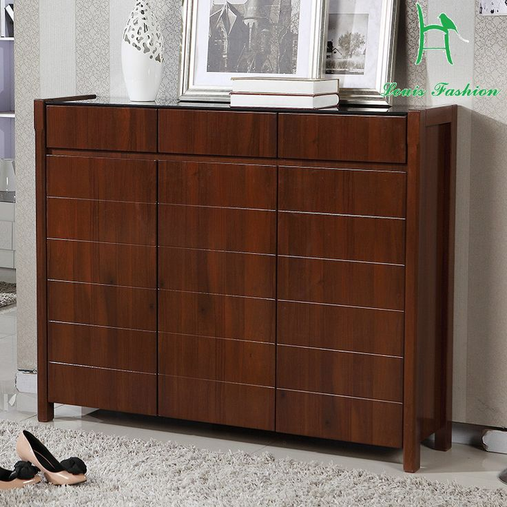 Solid Wood Frame Brown White Colored Three Door Wooden Shoe Cabinet With  Big Capacity In