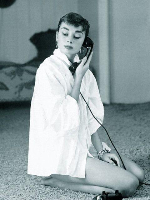 Audrey Hepburn on the phone