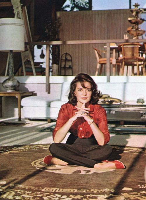 Natalie Wood - cute colorful button up and brown highwaisted trousers. Cool.  #modcloth #styleicon