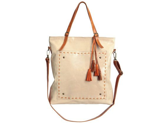 Leather tote bag cream purse natural leather purse by Percibal