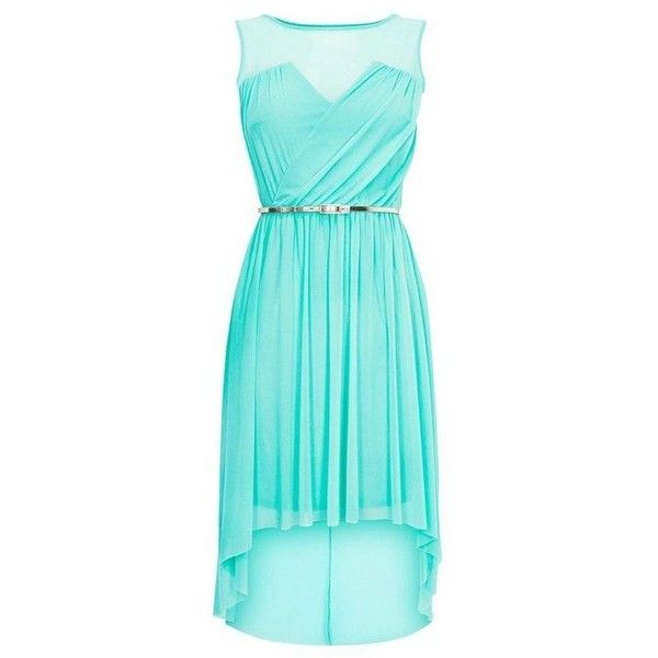 High low Dresses ❤ liked on Polyvore featuring dresses, blue dress, mint dresses, mint high low dress, mullet dresses and hi lo dress