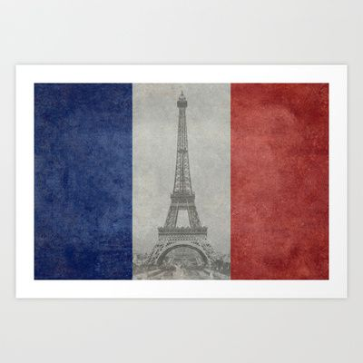 National Flag of France with Eiffel Tower  with Vintage treatment Art Print by LonestarDesigns2020 - Flags Designs + - $15.00