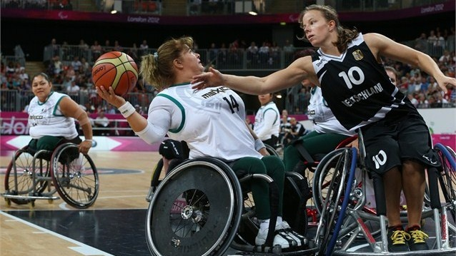Gesche Schuenemann (R) of Germany tries to block Rosa Vera Gallardo of Mexico during the women's Wheelchair Basketball Preliminary Group B match on Day 5 of the London 2012 Paralympic Games at the Basketball Arena  /Photo/sport/General/01/42/59/951gesche-schuenemann-germany-tries-block-rosa-vera-gallardo-mexico1425995  Related tags