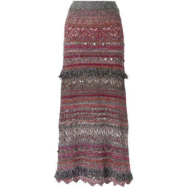 Cecilia Prado long knitted skirt (21.495 RUB) ❤ liked on Polyvore featuring skirts, grey, fringe skirt, striped skirts, striped maxi skirt, long striped skirt and long grey skirt
