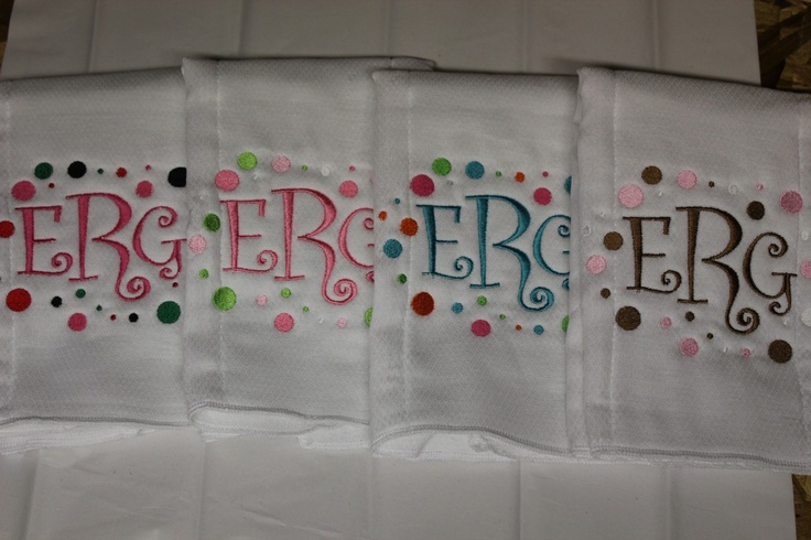 Embroidered Burp Cloths Personalized Set of 4