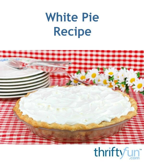 This no bake pie contains whipped egg whites, mixed with a thicken filling of flour, milk, sugar, butter, and more in a baked pie shell. This page contains a white pie recipe.