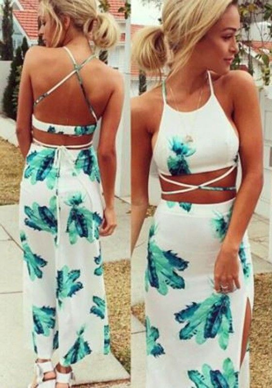 White Floral Condole Belt Cross Back Thigh High Side Slits 2-in-1 Maxi Dress