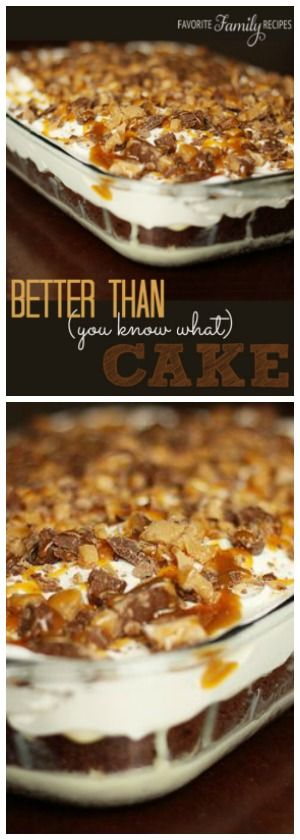 Turn a basic cake mix into a Better Than You Know What Cake!  Chocolate cake filled with a sweet caramel filling and topped with crunchy toffee bars. Chocolate cake filled with a sweet caramel filling and topped with crunchy toffee bars. via @favfamilyrecipz