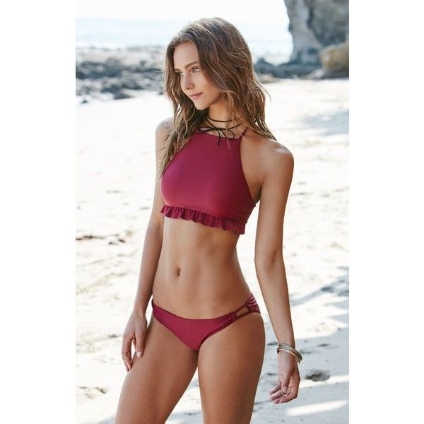 La Hearts Ruffled Crisscross Back Cropped Bikini Top ($27) ❤ liked on Polyvore featuring swimwear, bikinis, bikini tops, high neck bikini, tankini top, ruffle bikini, swim tops and flounce bikini