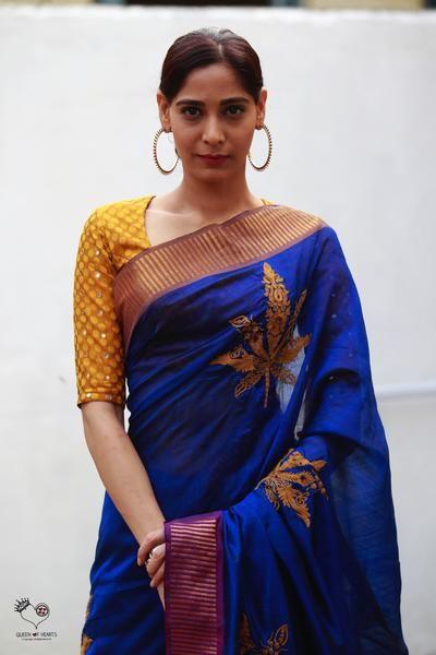 Electric Blue Leaf Silk/Cotton Mangalgiri Saree