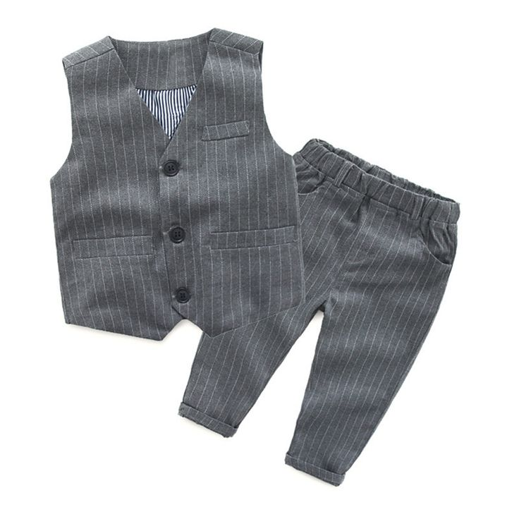 Toddler Boys Fashionable Pinstripe 2 Piece Outfit Include Gentleman Vest/ Pants Clothes For Party or Wedding