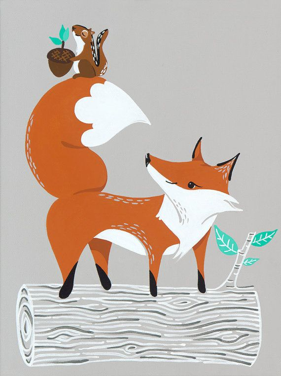 Woodland Fox Print for Grey Nursery Decor, Fox Illustration as Orange Kids Decor, Kids Room Art, Woodland Nursery, Baby Nursery Art