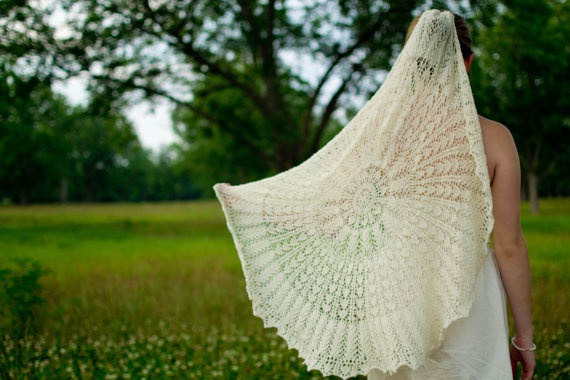 hand knit lace wedding veil. made of silk and covered in tiny hearts