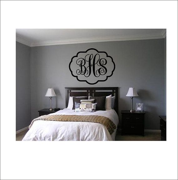 Vine Monogram Decal Large Vinyl Wall Decal with Border Bedroom Housewares Home Decor on Etsy, $26.00