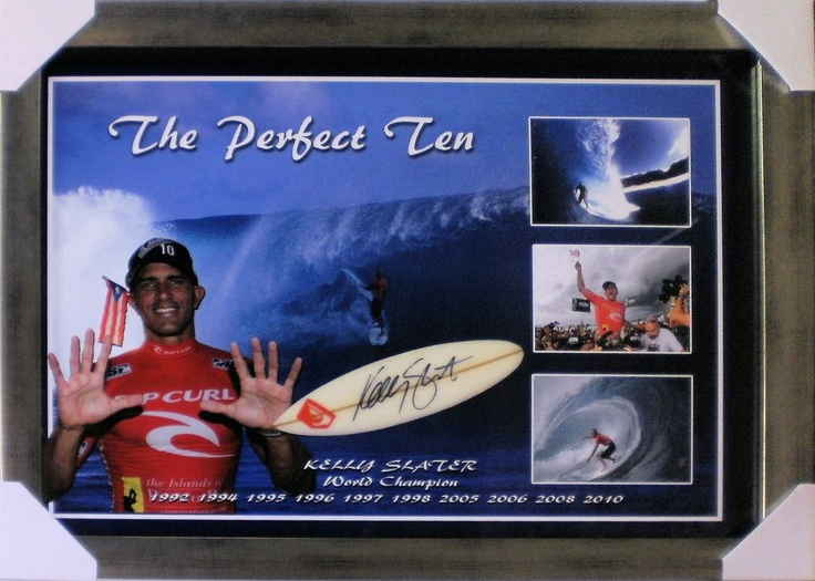 "Kelly Slater ""The Perfect Ten"" Signed Mini Surfboard"